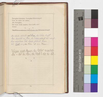 Also sprach Zarathustra. Ein Buch für Alle und Keinen. Vierter und letzter Theil, Leipzig Naumann 1885 Privatdruck; © Klassik Stiftung Weimar / Goethe- und Schiller-Archiv