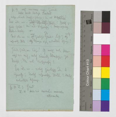 Beiliegendes Manuskriptblatt von Friedrich Nietzsche mit Textkorrekturen am Zarathustra, 21,5 x 14 cm; © Klassik Stiftung Weimar / Goethe- und Schiller-Archiv