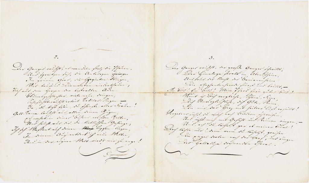 Heinrich Heine, Autograph des Sonettenkranzes an Friederike Robert, geb. Braun, 1824; © Heinrich-Heine-Institut, Düsseldorf