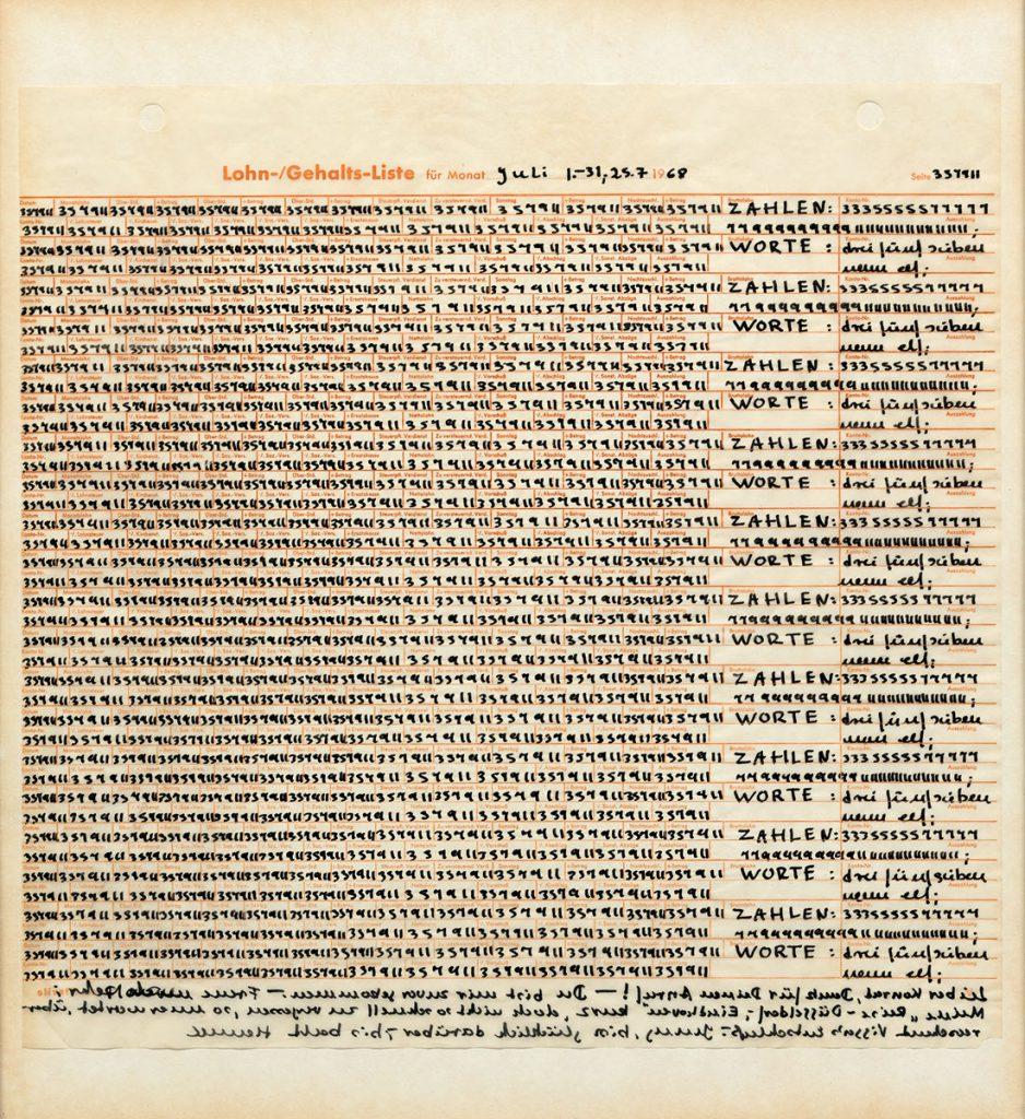 Hanne Darboven, Lohn- / Gehaltsliste für Monat Juli 1.–31., 25.7.1968, 1968, 50,5×45,5×2,5 cm; Kunstsammlung Nordrhein-Westfalen; © Hanne Darboven Stiftung, Hamburg / VG Bild-Kunst, Bonn 2016 / Foto: Achim Kukulies
