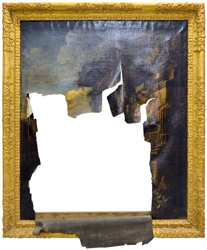 """""""Ruinenlandschaft"""", stark beschädigtes Gemälde aus Schloss Bruchsal, 122×105 cm; © Staatliche Schlösser und Gärten Baden-Württemberg"""