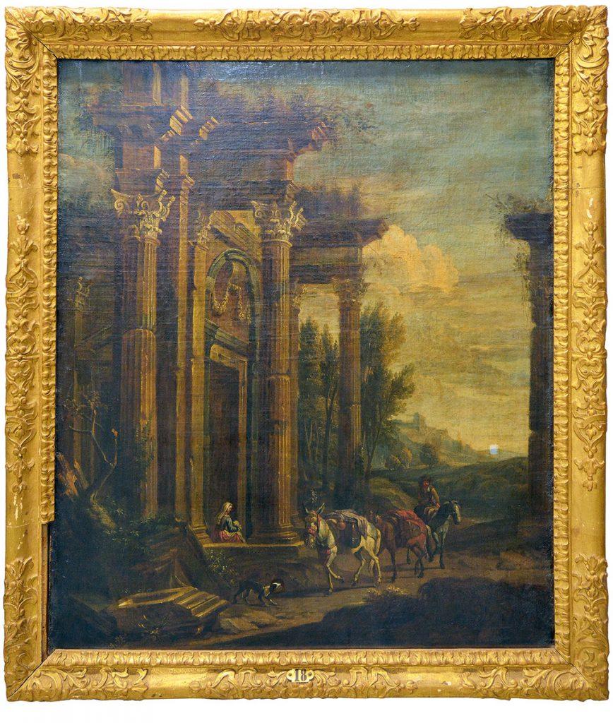 """""""Tempelruine in einer Landschaft"""", Ölgemälde aus dem 17. Jahrhundert, 122×105 cm; © Staatliche Schlösser und Gärten Baden-Württemberg"""
