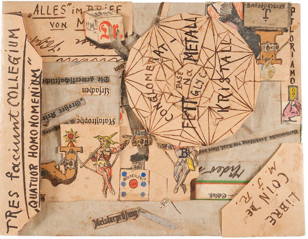 Max Junge, Collagierter Umschlag (recto), um 1918/1919, 14,2×18,8 cm; Sammlung Prinzhorn, Universitätsklinikum Heidelberg; © Sammlung Prinzhorn, Universitätsklinikum Heidelberg