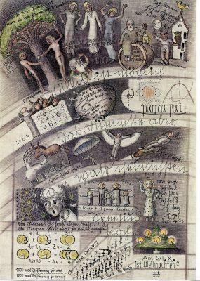"""Erich Spiessbach, """"Alles ist möglich, das Dümmste aber am wahrscheinlichsten"""", 1952,  Inv. Nr. 8542_0346, 29,5 x 20,7 cm, Sammlung Prinzhorn, Universitätsklinikum Heidelberg, © Sammlung Prinzhorn, Universitätsklinikum Heidelberg"""