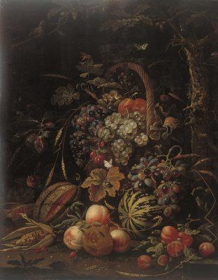 Abraham Mignon, Stillleben mit Fruchtkorb, Kürbis, Melone und Pfirsichen an einer Eiche, um 1670, 87 x 59 cm; Museum Kunstpalast, Düsseldorf, © Foto: Horst Kolberg, Neuss