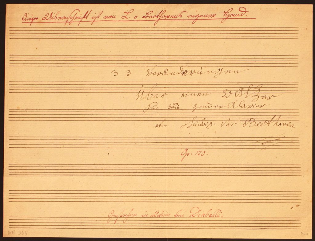 Ludwig van Beethoven, Titelblatt der Diabelli-Variationen, Opus 120; © Beethoven-Haus Bonn