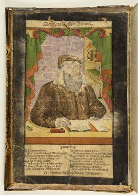Hans Weigel d. Ä., Des Hans Sachsen Bildnuß, kolorierter Holzschnitt, nach 1563, in den Widmungsband eingeklebt; Stadtbibliothek Nürnberg, © Stadtbibliothek Nürnberg