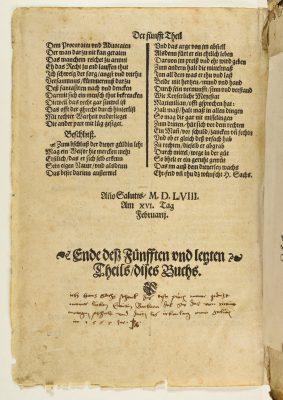 Eigenhändige Widmung von Hans Sachs aus dem Jahr 1567, in: Das erste Buch sehr herrliche schoene und warhaffte Gedicht, 1560; Stadtbibliothek Nürnberg, © Stadtbibliothek Nürnberg
