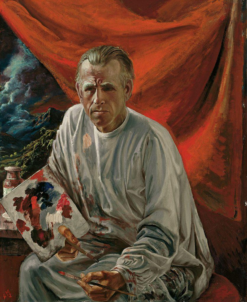 Otto Dix, Selbstbildnis mit Palette vor rotem Vorhang, 1942, 100×80 cm; Kunstmuseum Stuttgart, © VG Bild-Kunst, Bonn 2017 / Kunstmuseum Stuttgart