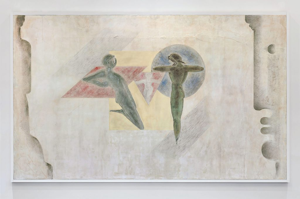 "Oskar Schlemmer, Wandbild ""Familie"" für das Haus der Familie Keller, 1940, 220×450 cm; Staatsgalerie Stuttgart, © Staatsgalerie Stuttgart, Foto: Galerie Valentien"