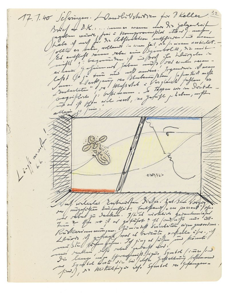 "Oskar Schlemmer, Tagebucheintrag vom 17.1.1940 mit Entwurfsskizze zum Wandbild ""Familie""; Archiv Oskar Schlemmer in der Staatsgalerie Stuttgart, © Staatsgalerie Stuttgart"