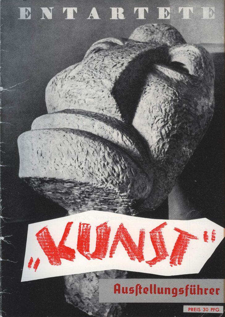 """Otto Freundlich, Großer Kopf, Titelbild des """"Ausstellungsführers Entartete Kunst"""", 1938, © Museum Ludwig"""