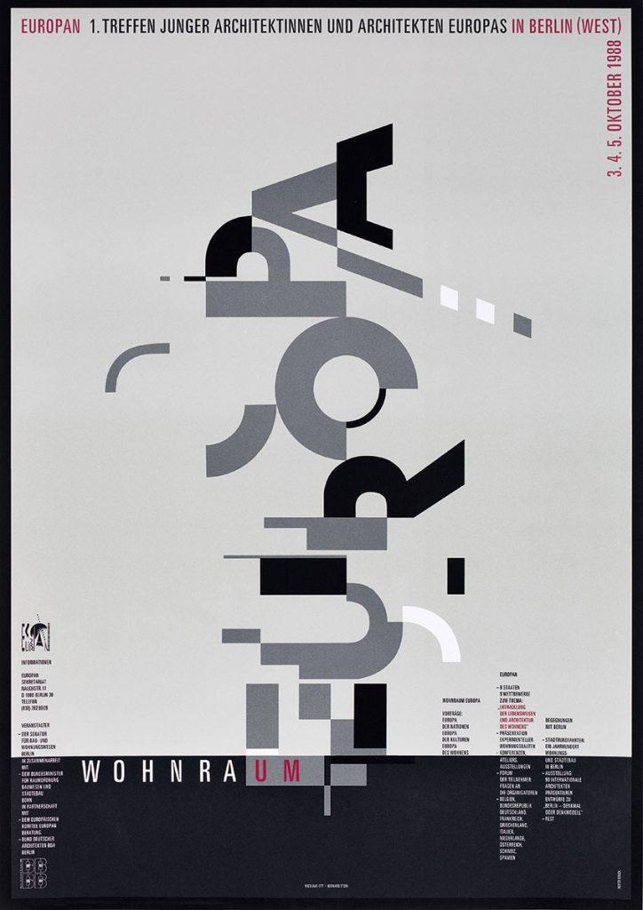 Ott&Stein, Plakat zu Europan – 1. Treffen junger Architektinnen und Architekten Europas in Berlin, 1988, 84,1×59,4 cm; Brandenburgisches Landesmuseum für moderne Kunst Dieselkraftwerk , © bei den Künstlern