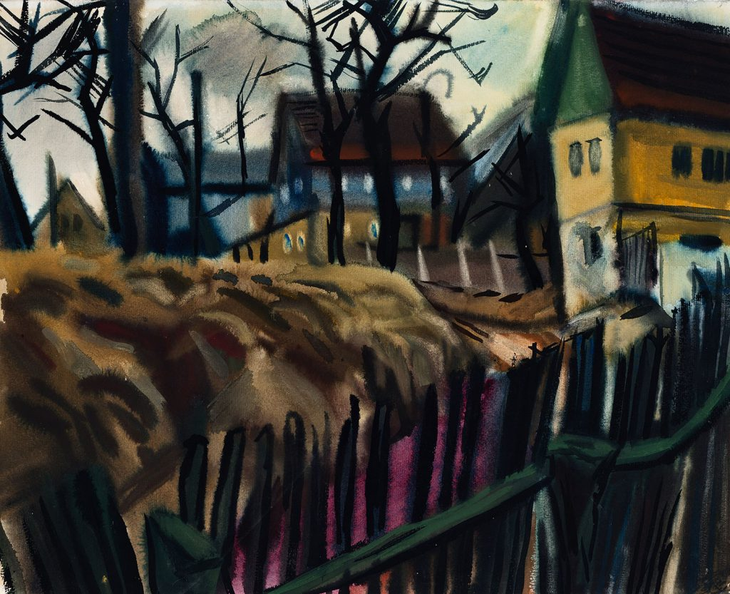 Curt Querner, Die Gasse, 9.2.1973, 1973, 48,8×61,5 cm; Brandenburgisches Landesmuseum für moderne Kunst Dieselkraftwerk, © VG Bild-Kunst, Bonn 2017 / dkw Cottbus, Foto: Thomas Kläber
