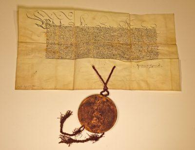Verleihungsurkunde Kaiser Friedrichs III. für die Ritter von Fleckenstein, 23.9.1480; © Landesarchiv Baden-Württemberg, Staatsarchiv Freiburg