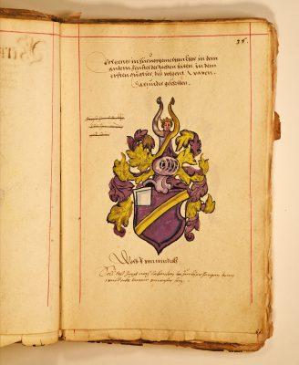 Wappendarstellung des Wolf von Windeck aus dem Güterverzeichnis der Familie von Windeck; © Landesarchiv Baden-Württemberg, Staatsarchiv Freiburg