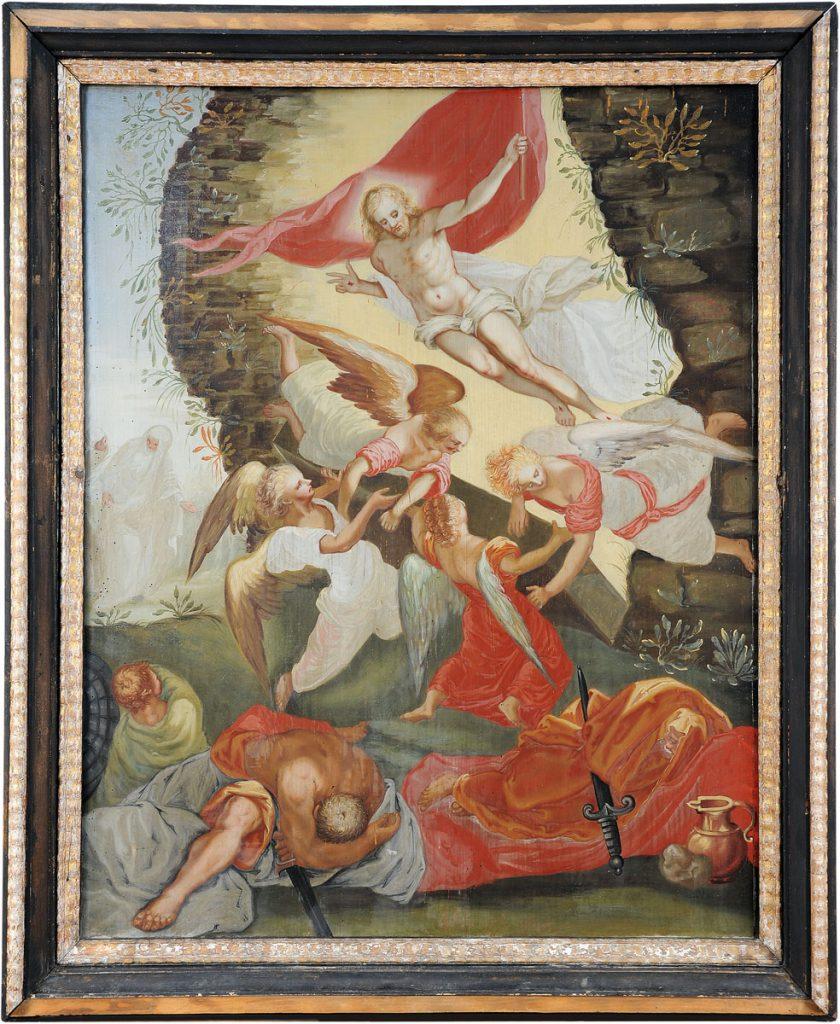 """Bildtafel """"Auferstehung Christi"""" des Epitaphs für Georg Schnitter; © Städtische Museen Zittau / Foto: Arne Mai"""