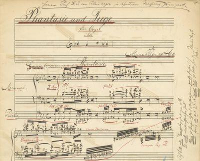 Max Reger, Phantasie und Fuge über B-A-C-H op. 46, Handschrift für Karl Straube; © Max-Reger-Institut Karlsruhe