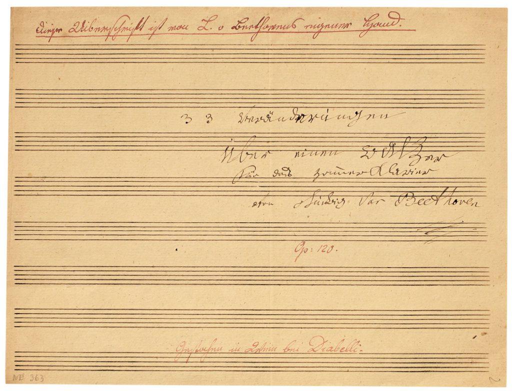 Ludwig van Beethoven, Titelblatt der Diabelli-Variationen, Opus 120; Beethoven-Haus Bonn; © Beethoven-Haus Bonn