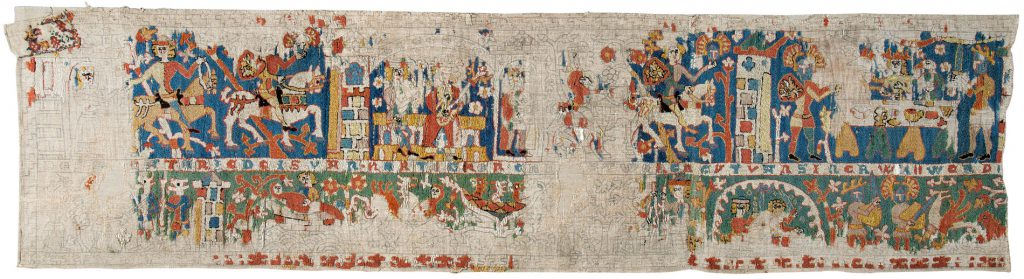 Mittelalterlicher Bildteppich mit der Sage von Herzog Ernst von Schwaben, 2. Hälfte des 14. Jahrhunderts, 260×68 cm; Städtisches Museum Braunschweig; © Städtisches Museum Braunschweig / Foto: Dirk Scherer