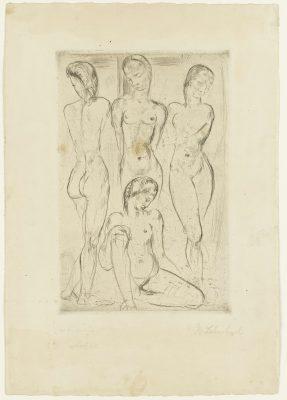 Wilhelm Lehmbruck, Vier Frauen (drei stehend, eine sitzend), 1913, 43,9 x 30,7 cm; Graphische Sammlung, Staatsgalerie Stuttgart; © Staatsgalerie Stuttgart
