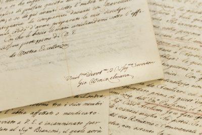 Briefe von Johann Joachim Winckelmann an Graf Wackerbarth-Salmour, 1759 bis 1761, Detail: Brief mit Unterschrift Winckelmanns aus Rom vom 4. Juni 1760 © SLUB Dresden / Ramona Ahlers-Bergner