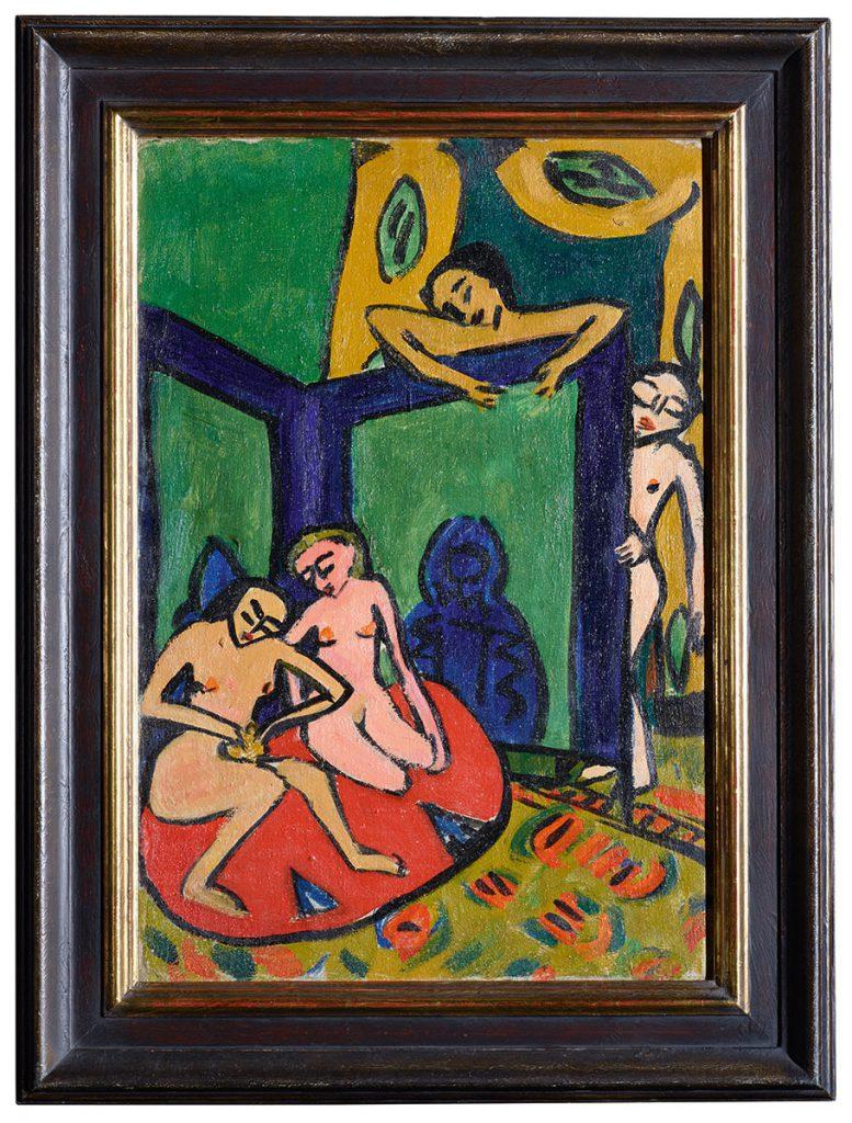 Erich Heckel, Atelierszene, 1910/11, verso: Steine, 1939, 70 x 48 cm; Albertinum / SKD; © Nachlass Erich Heckel, Hemmenhofen 2017, Foto: Elke Estel / Hans-Peter Klut