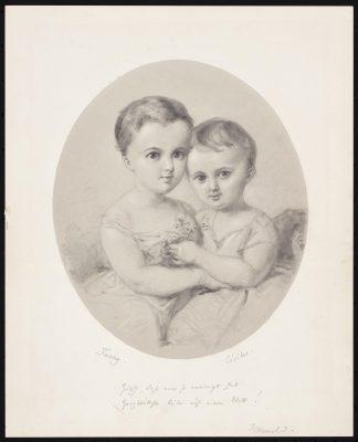 Wilhelm Hensel, Die Enkelinnen Fanny und Cécile Hensel, um 1860, 21 x 17,5 cm; © Archiv Mendelssohn-Haus