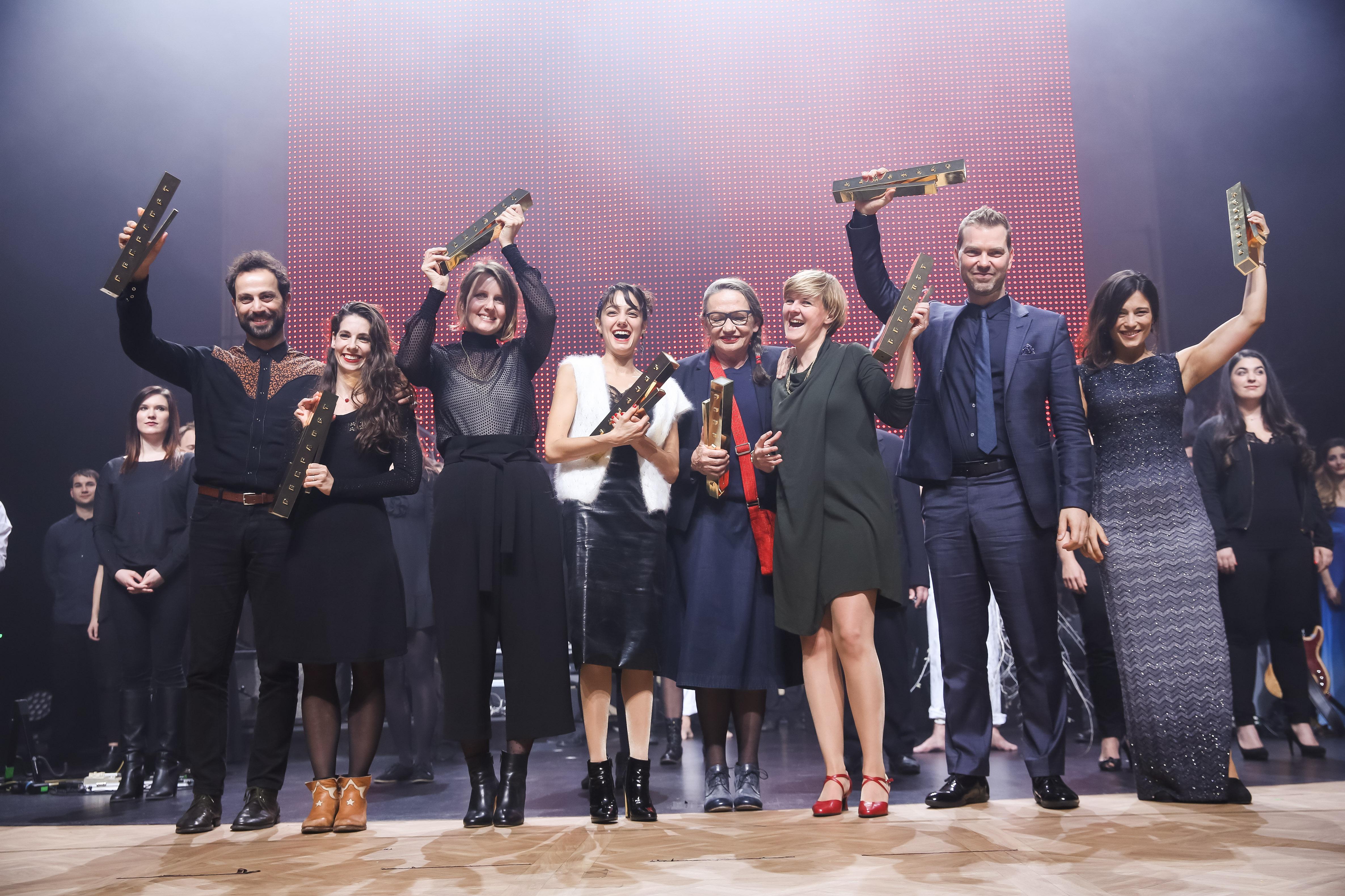 Die Preisträger des FAUST 2017 auf der Bühne im Schauspiel Leipzig; Foto: Markus Nass