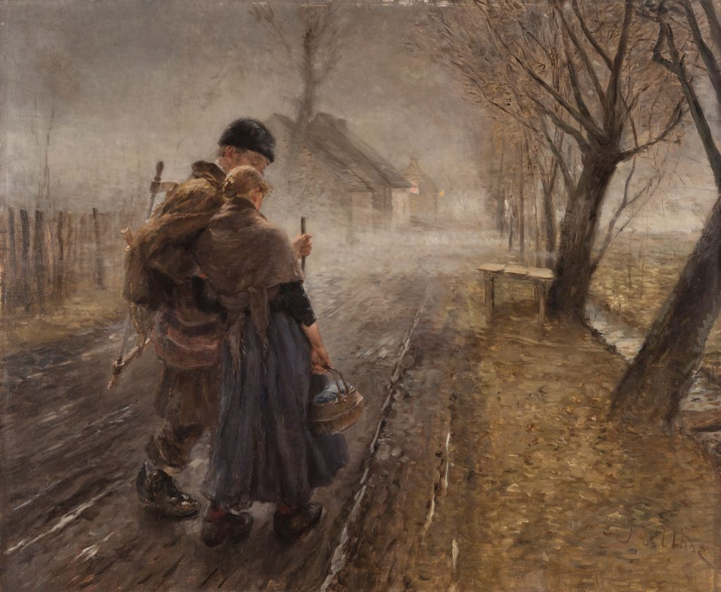 Fritz von Uhde, Gang nach Bethlehem, 1890, 92 × 110 cm; Museum Wiesbaden; © Museum Wiesbaden / Foto: Bernd Fickert