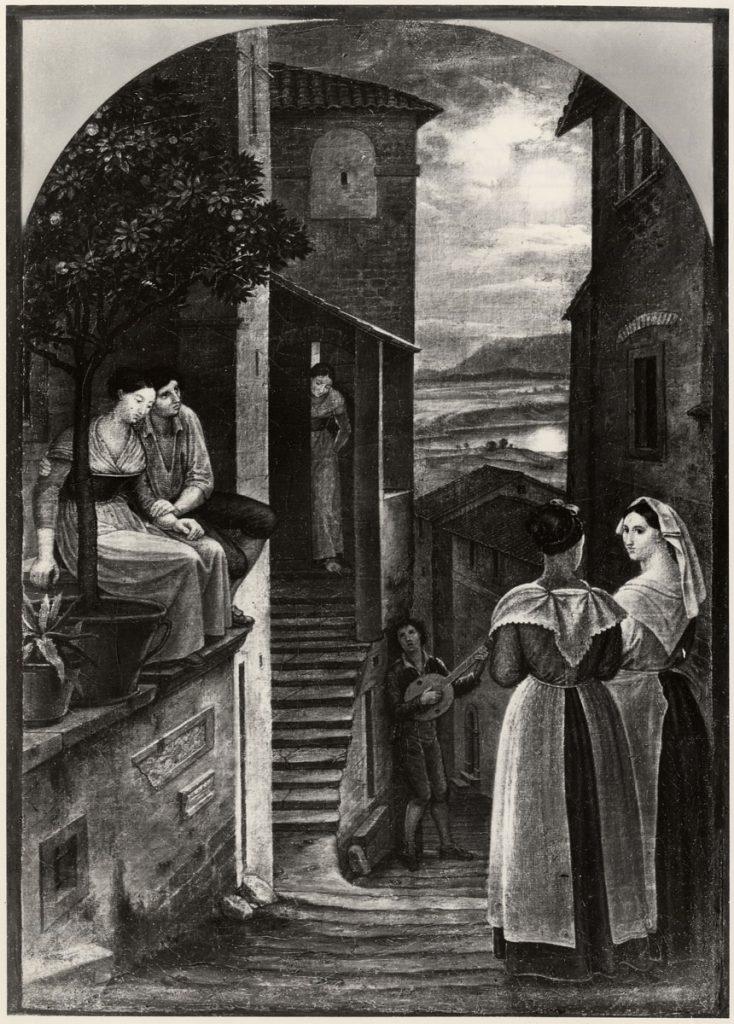 Friedrich von Olivier, Italienisches Ständchen, o.J., (Vorkriegsaufnahme), 37×26 cm; verschollen; : © SMB-ZA, V/Slg. Künstler, Olivier, Friedrich