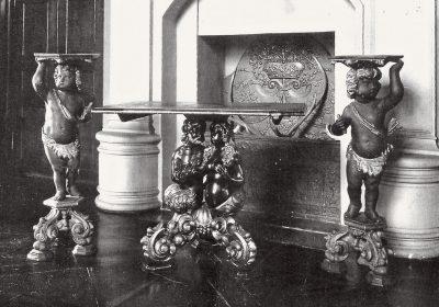 Tischgestell, um 1670, 83 cm hoch; Stiftung Preußische Schlösser und Gärten Berlin-Brandenburg; Vorkriegsaufnahme der Garnitur; © Landesamt für Denkmalpflege und Archäologie Sachsen-Anhalt, Halle