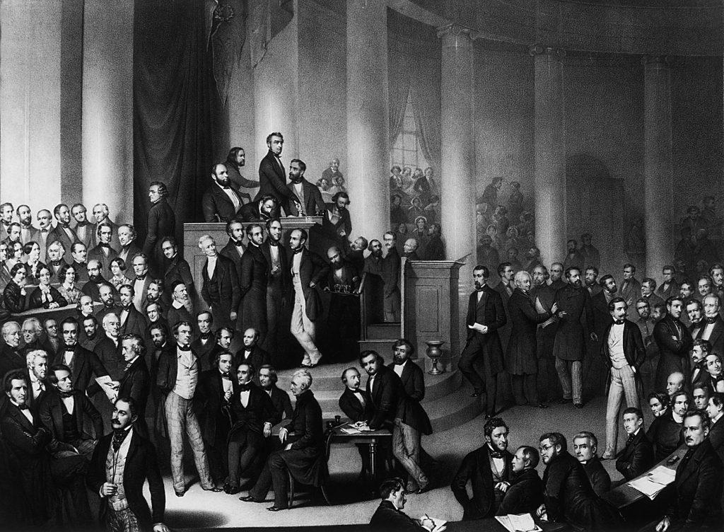 Eduard Meyer, Die deutsche Nationalversammlung in der Paulskirche zu Frankfurt/Main (in der Mitte sitzend Lindenau), 1848, 53×73 cm; Lindenau-Museum Altenburg; © Foto: Bernd Sinterhauf