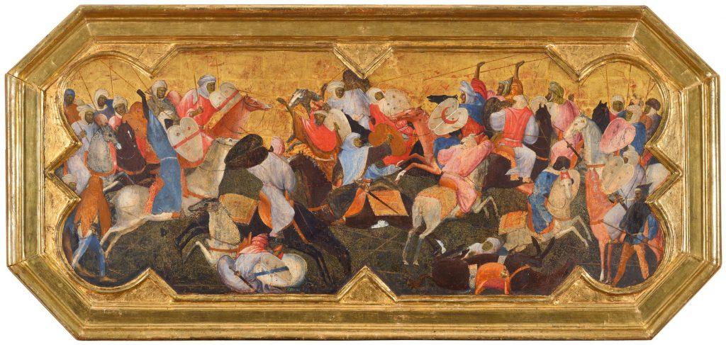 Gherardo di Jacopo, gen. Gherardo Starnina, Kampf orientalischer Reiter, um 1400–1405, 54,7×113 cm; Lindenau-Museum Altenburg; © Foto: PUNCTUM / Bertram Kober