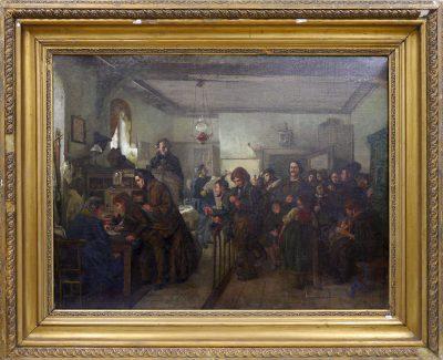 Felix Schlesinger, In der Pass- und Polizeistube vor der Emigration, um 1859, 81×105 cm; Stadtmuseum Simeonstift Trier; © Stadtmuseum Simeonstift Trier