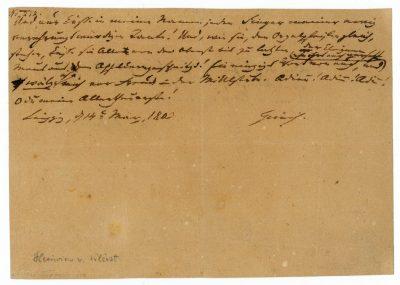 Brief Heinrich von Kleists an Ulrike von Kleist vom 13. und 14. März 1803 (Fragment); Kleist-Museum, Frankfurt (Oder); © Kleist-Museum