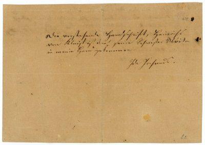 Eigenhändiger Eigentumsvermerk von Ida Jochmus auf der Rückseite des Autographs; Kleist-Museum, Frankfurt (Oder); © Kleist-Museum
