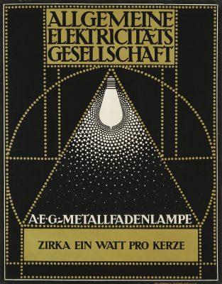 Peter Behrens, Allgemeine Elektricitäts Gesellschaft/ A.E.G., Plakat, 1907; Kunstmuseen Krefeld