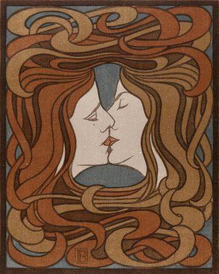 Peter Behrens, Der Kuss, aus: Zeitschrift PAN, IV Jg. Heft 2, 1898; Kunstmuseen Krefeld