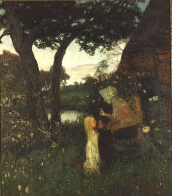 Otto Modersohn, Die Märchenerzählerin, 1896, 125 × 108,5 cm; Otto-Modersohn-Museum, Fischerhude