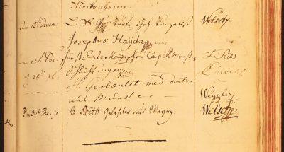 """Das Gästebuch der Lese mit dem Eintrag des Besuchs von Joseph Haydn am 25. Dezember 1790:  """"Josephus Haydn mp fürst. Esterhazischer Capellmeister""""; Lese- und Erholungsgesellschaft Bonn"""