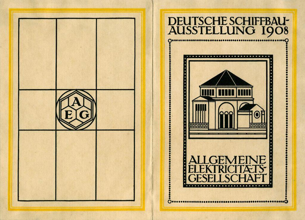 """Peter Behrens, Umschlag des Ausstellungsführers """"Deutsche Schiffbau-Ausstellung 1908"""" der AEG, Berlin, 1908; Sammlung Kunstmuseen Krefeld; © Foto: Kunstmuseen Krefeld"""
