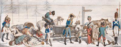 (Napoleons Rückzug), 1813, Aquarell, 15,4 × 39,3 cm (oben); Akademie der Künste, Berlin © Akademie der Künste, Berlin, Kunstsammlung