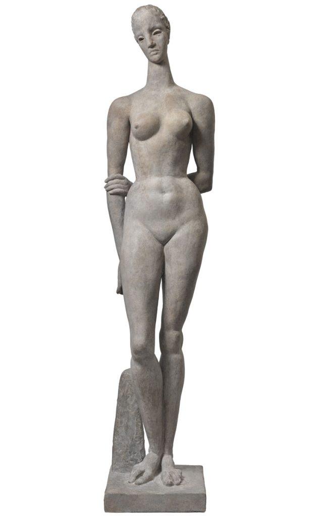 Wilhelm Lehmbruck, Große Sinnende, 1913, Gips, 208 × 41 × 43 cm; Staatsgalerie Stuttgart; © Staatsgalerie Stuttgart