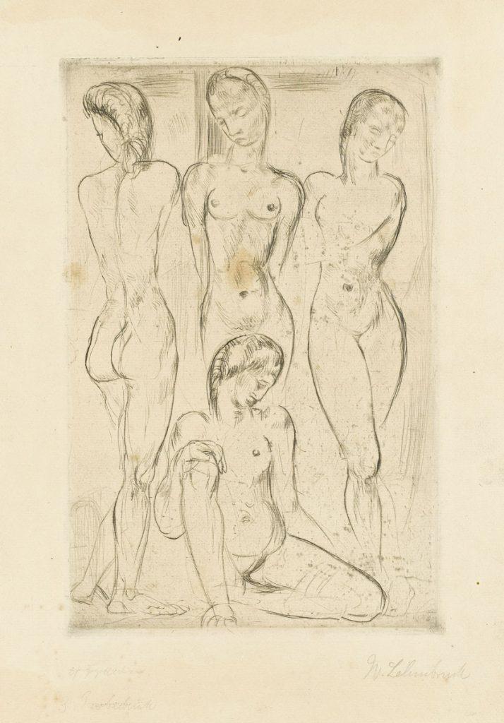 Wilhelm Lehmbruck, Vier Frauen (drei stehend, eine sitzend), 1913, Kaltnadelradierung, 43,9 × 30,7 cm; Staatsgalerie Stuttgart; © Staatsgalerie Stuttgart