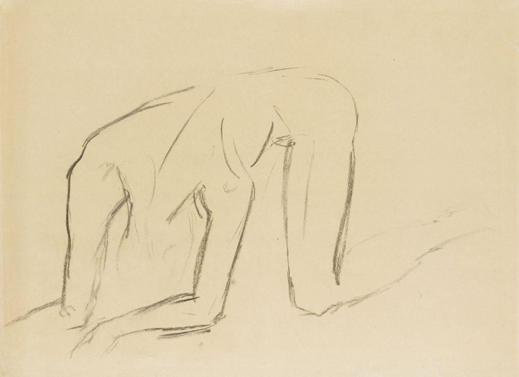 """Wilhelm Lehmbruck, Skizze zu """"Der Gestürzte"""", 1916, Kohle, 47,8 × 66 cm; Staatsgalerie Stuttgart, © Staatsgalerie Stuttgart"""
