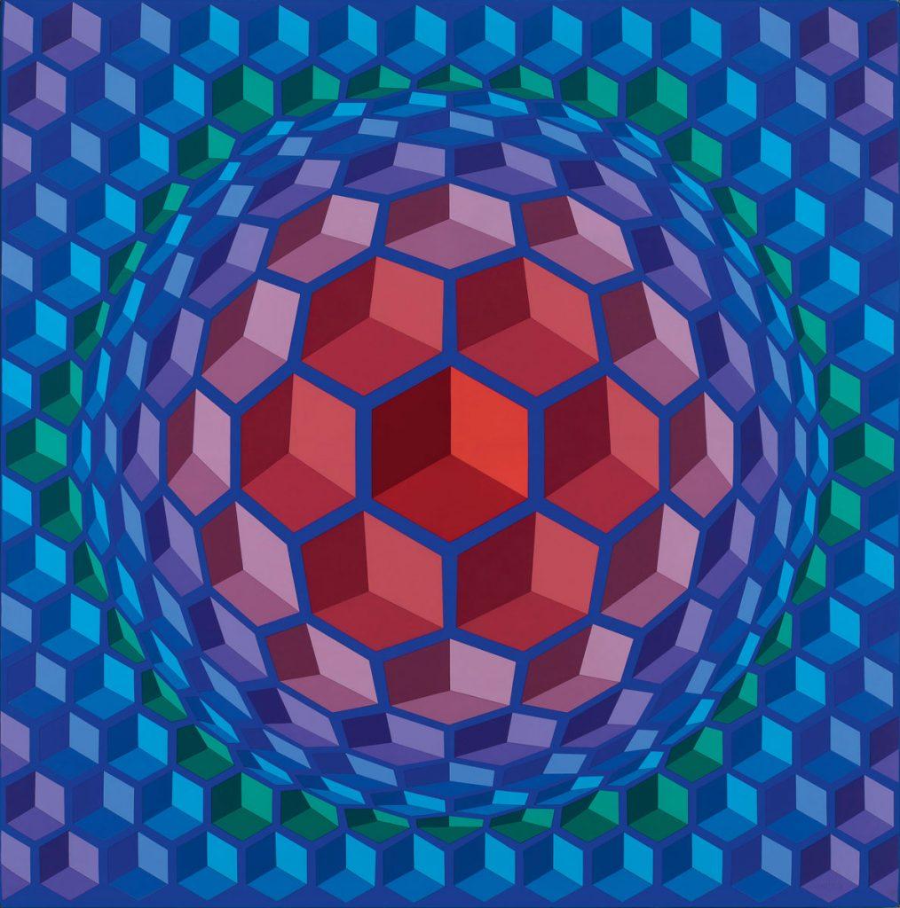 Victor Vasarely, Cheyt-Pyr, 1970–1971, 197 × 195 cm; Janus Pannonius Museum Vasarely Museum, Pécs; © VG Bild-Kunst, Bonn 2017 / Foto: István Füzi