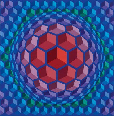 Victor Vasarely, Cheyt-Pyr, 1970–1971, 197 × 195 cm; Janus Pannonius Museum Vasarely Museum, Pécs © VG Bild-Kunst, Bonn 2017 / Foto: István Füzi