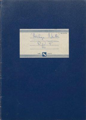 Schulheft mit Drehbuch-Entwurf zu Warnung vor einer Heiligen Nutte, Regie: Rainer Werner Fassbinder, 1971; © RWFF