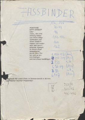 Titelseite des Drehbuchs zu Fontane Effi Briest, Regie: Rainer Werner Fassbinder, 1974; © RWFF